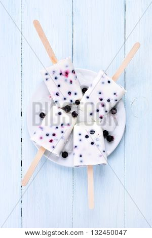 Ice cream from frozen yogurt and blackcurrant top view