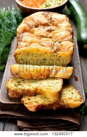 Sliced vegetable moist bread with zucchini carrot cheese eggs