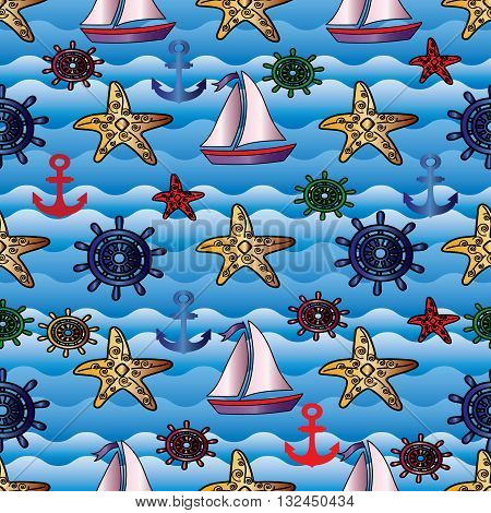 Summer seamless pattern. On the blue waves are sailboat with pink sails, yellow and red starfish, blue and green ship steering wheel, red and dark blue  anchor. Can be scaled to any size.