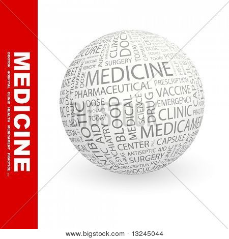 MEDICINE. Globe with different association terms.