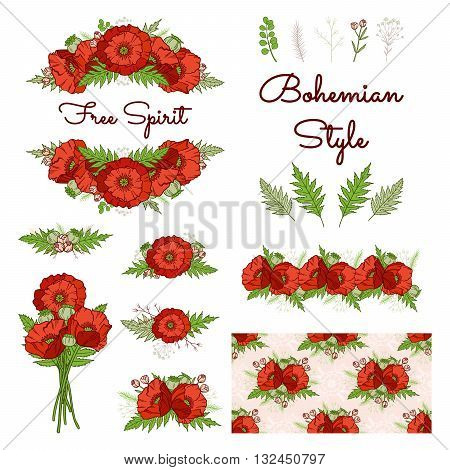 Bohemian style collection. Set of boho floral elements: composition frame bouquet border seamless pattern. Poppies. Hand drawn vector illustration. Wedding design: greeting cards invitations etc