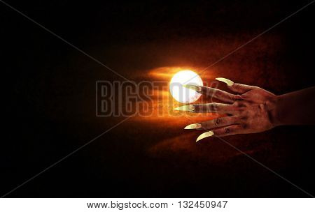 Human Hand With Long Fingernail Or Devil Hand On Full Moon Night With Grunge Covered For Halloween B