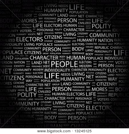 PEOPLE. Word collage on black background. Illustration with different association terms.
