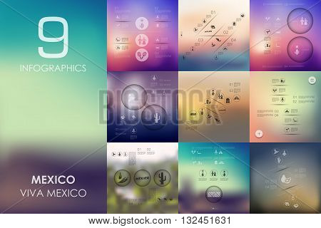 Mexico vector infographics with unfocused blurred background