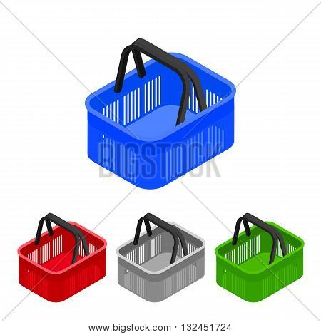 Shopping basket in supermarket and store. Flat isometric. Shopping cart icon for web shops. Vector illustration.