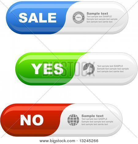 Conjunto de botón aprobados y rechazados.