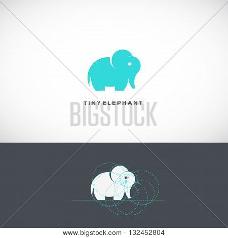 Tiny Elephant Abstract Vector Logo Template, Sign or Icon. Drawn with the Help of Golden Ratio. Isolated.