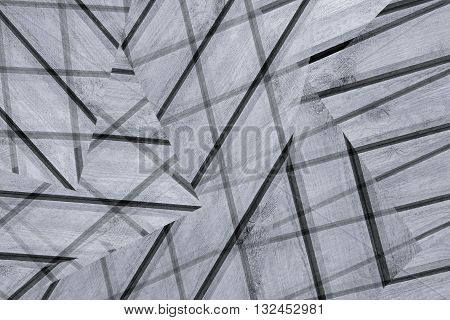 Abstract asymmetric background of the wooden planks. Abstract minimalistic pattern intersecting strips. Grey background. Background in the style of Constructivism.
