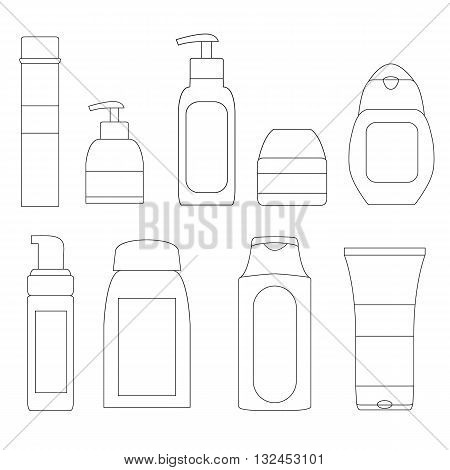 Set of cosmetic bottles. Packaging of hygiene products. Hair care. The face cream. Design of linear icons. Flat style. Vector illustration.