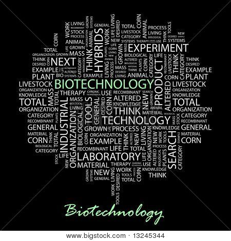BIOTECHNOLOGY. Word collage on black background. Illustration with different association terms.