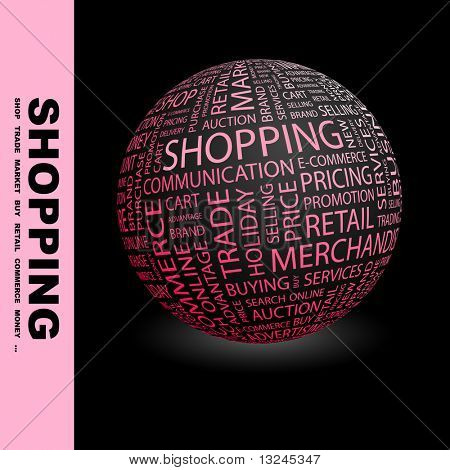 SHOPPING. Globe with different association terms.