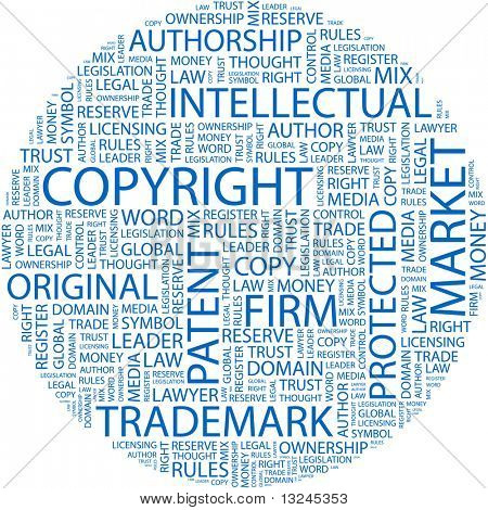 COPYRIGHT. Word collage on white background. Illustration with different association terms.