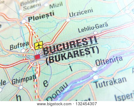 Map with focus set on Bucuresti, Romania.