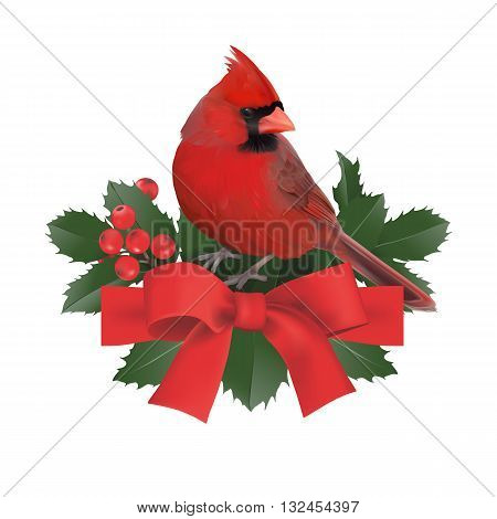 Christmas ornament. Hand drawn vector illustration of a Christmas ornament with Northern cardinal, Holly berries and Red bow, on transparent background.