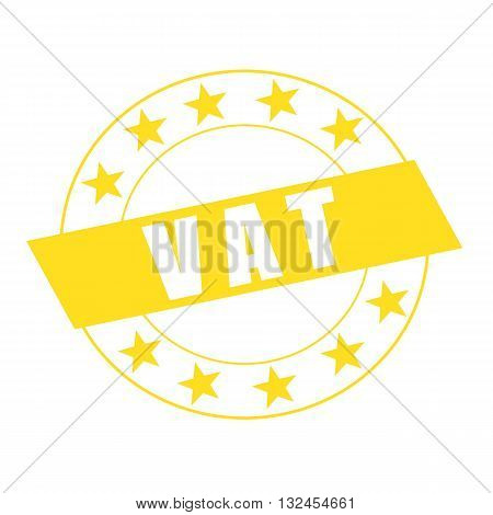 Vat white wording on yellow Rectangle and Circle yellow stars