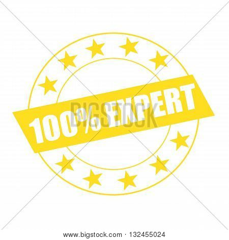 one hundred percent expert white wording on yellow Rectangle and Circle yellow stars