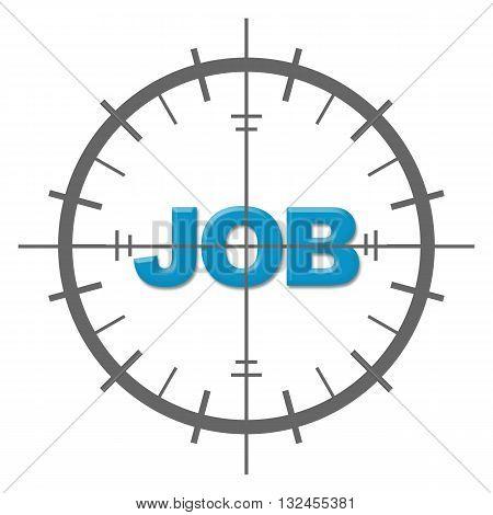 Job word in blue written inside target sign.