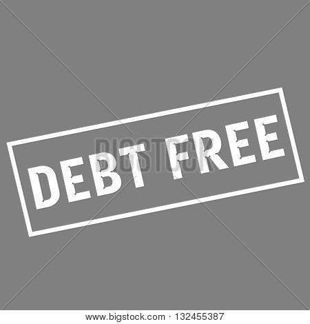 debt free white wording on rectangle gray background