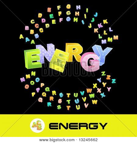 ENERGY. Vector 3d illustration with colored alphabet.