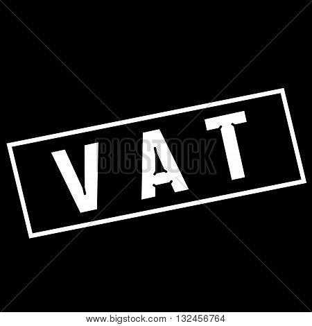 Vat white wording on rectangle black background