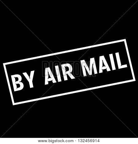 By air mail white wording on rectangle black background