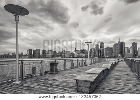 View On Manhattan Skyline Over The East River