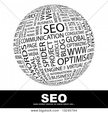 SEO. Word collage. Globe with different association terms.