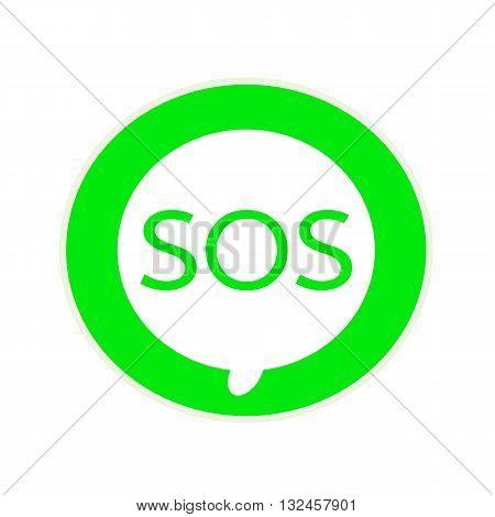 SOS green wording on Circular white speech bubble