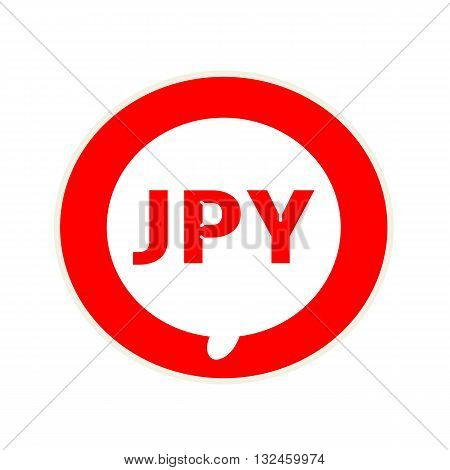 JPY red wording on Circular white speech bubble