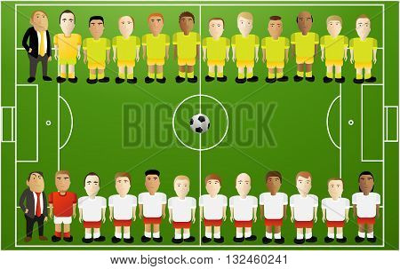 Football background with cartoon players - vector illustration