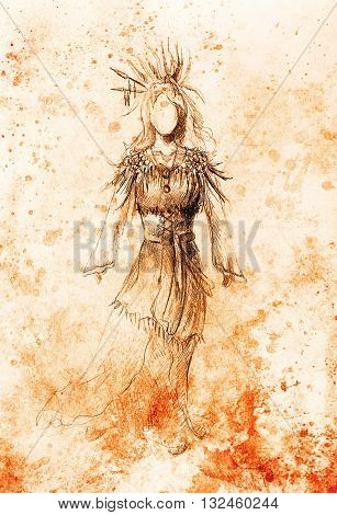 pencil drawing on paper, indian woman and feathers and arrow in hair. Color effect