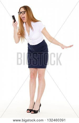Stressed  business woman with mobile phone on a white background.