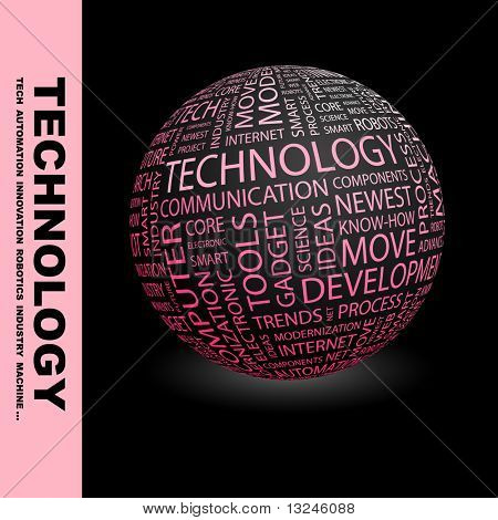 TECHNOLOGY. Globe with different association terms.