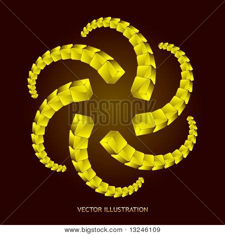 Abstract illustration with golden boxes