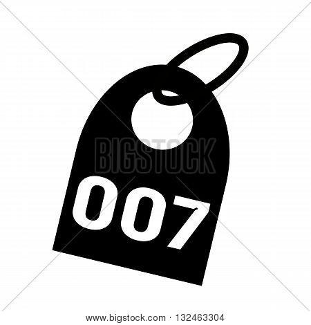 007 white wording on background black key chain