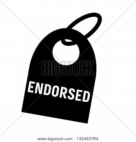 ENDORSED white wording on background black key chain