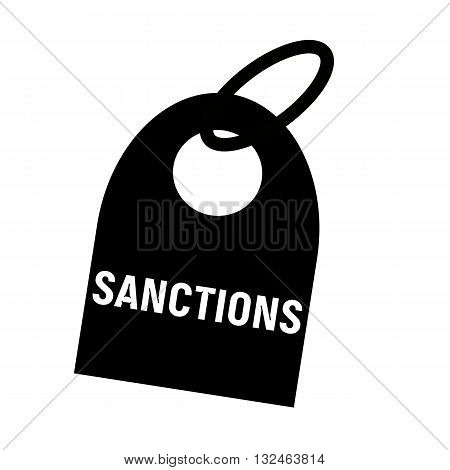 SANCTIONS white wording on background black key chain
