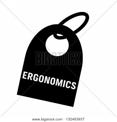 ERGONOMICS white wording on background black key chain