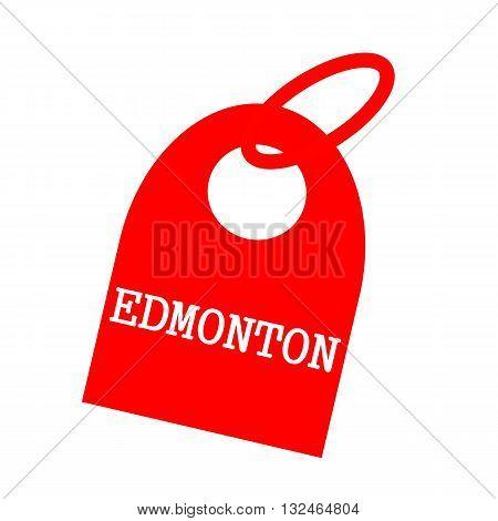 EDMONTON white wording on background red key chain