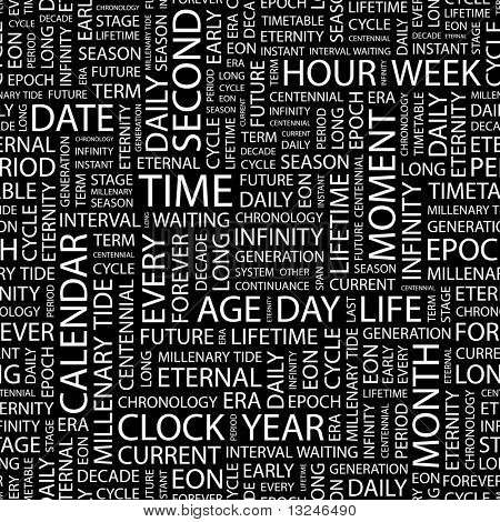 TIME. Seamless vector background. Illustration with different association terms.