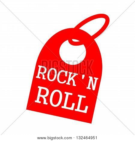 ROCK N ROLL white wording on background red key chain