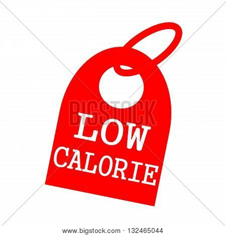 Low calorie white wording on background red key chain