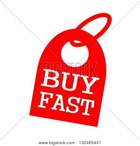 BUY FAST white wording on background red key chain