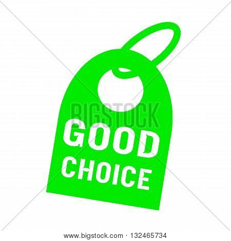 good choice white wording on background green key chain