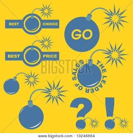 Bombastic price label set. Vector great collection.