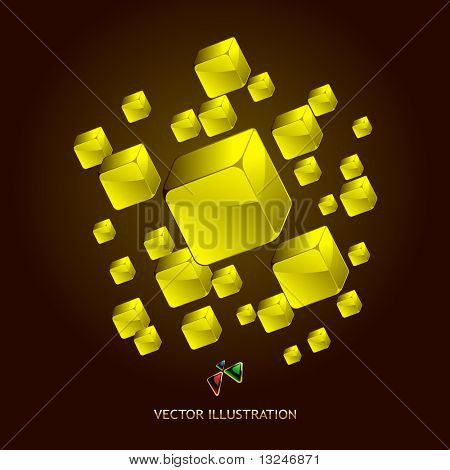 Abstract background with golden boxes