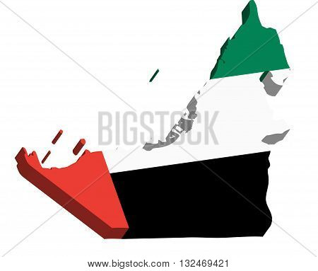 A map of United Arab Emirates 3D on white background