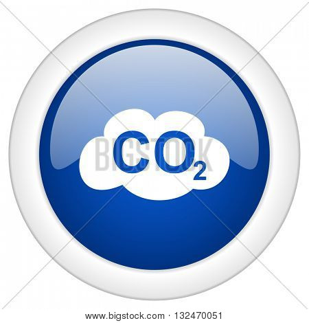 carbon dioxide icon, circle blue glossy internet button, web and mobile app illustration