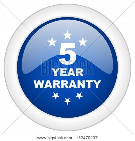 warranty guarantee 5 year icon, circle blue glossy internet button, web and mobile app illustration