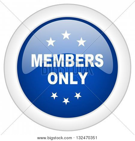 members only icon, circle blue glossy internet button, web and mobile app illustration